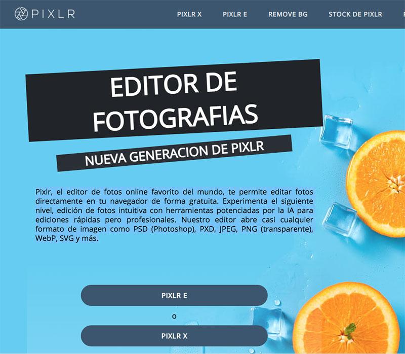 pixlr editor de fotografías