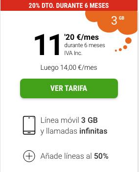 tarifa móvil Yoigo LA SINFIN 3GB